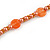 Stylish Orange/ Peach Ceramic/Glass Bead with Gold Tone Metal Rings Long Necklace - 90cm L - view 5