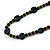 Stylish Black Ceramic, Glass Bead with Gold Tone Metal Rings Long Necklace - 90cm L - view 4