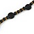 Stylish Black Ceramic, Glass Bead with Gold Tone Metal Rings Long Necklace - 90cm L - view 5