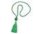 Spring Green Glass Bead Cotton Tassel Necklace - 72cm L/ 14cm Tassel