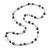Grey/ White/ Transparent Glass Bead Long Necklace - 82cm Long