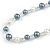 Grey/ White/ Transparent Glass Bead Long Necklace - 82cm Long - view 4