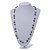 Grey/ White/ Transparent Glass Bead Long Necklace - 82cm Long - view 2