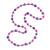 Pink/ Purple Glass Bead Long Necklace - 86cm Long