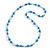 Blue/ White/ Transparent Glass Bead Long Necklace - 86cm Long