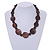Statement Coin Shape Wood and Round Ceramic Bead Necklace In Brown - 46cm L - view 2