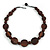 Statement Coin Shape Wood and Round Ceramic Bead Necklace In Brown - 46cm L - view 3