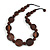 Statement Coin Shape Wood and Round Ceramic Bead Necklace In Brown - 46cm L