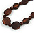 Statement Coin Shape Wood and Round Ceramic Bead Necklace In Brown - 46cm L - view 4