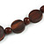 Statement Coin Shape Wood and Round Ceramic Bead Necklace In Brown - 46cm L - view 5