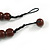 Statement Coin Shape Wood and Round Ceramic Bead Necklace In Brown - 46cm L - view 6