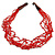Ethnic Multistrand Red Glass Bead, Semiprecious Stone Necklace With Wood Hook Closure - 60cm L - view 3