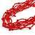 Ethnic Multistrand Red Glass Bead, Semiprecious Stone Necklace With Wood Hook Closure - 60cm L - view 4