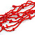 Ethnic Multistrand Red Glass Bead, Semiprecious Stone Necklace With Wood Hook Closure - 60cm L - view 5