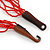 Ethnic Multistrand Red Glass Bead, Semiprecious Stone Necklace With Wood Hook Closure - 60cm L - view 6