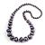 Long Graduated Wooden Bead Colour Fusion Necklace (Purple/ Black/ Gold) - 76cm Long