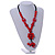 Statement Ceramic, Wood, Resin Tassel Black Cord Necklace (Red) - 54cm L/ 10cm Tassel - Adjustable - view 2