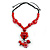 Statement Ceramic, Wood, Resin Tassel Black Cord Necklace (Red) - 54cm L/ 10cm Tassel - Adjustable