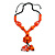 Statement Ceramic, Wood, Resin Tassel Black Cord Necklace (Orange) - 54cm L/ 10cm Tassel - Adjustable