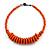 Orange Button, Round Wood Bead Wire Necklace - 46cm L