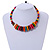 Multicoloured Button, Round Wood Bead Wire Necklace - 46cm L - view 2