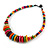Multicoloured Button, Round Wood Bead Wire Necklace - 46cm L - view 3
