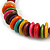 Multicoloured Button, Round Wood Bead Wire Necklace - 46cm L - view 4