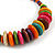 Multicoloured Button, Round Wood Bead Wire Necklace - 46cm L - view 5