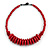Red Button, Round Wood Bead Wire Necklace - 46cm L