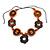 Brown/ Orange Wood Floral Motif Black Cord Necklace - 60cm L/ Adjustable