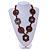Brown Wood Floral Motif Black Cord Necklace - 60cm L/ Adjustable - view 2