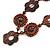Brown Wood Floral Motif Black Cord Necklace - 60cm L/ Adjustable - view 3