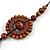 Brown Wood Floral Motif Black Cord Necklace - 60cm L/ Adjustable - view 4