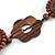 Brown Wood Floral Motif Black Cord Necklace - 60cm L/ Adjustable - view 5