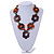 Brown/ Multicoloured Wood Floral Motif Black Cord Necklace - 60cm L/ Adjustable - view 2