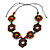 Brown/ Multicoloured Wood Floral Motif Black Cord Necklace - 60cm L/ Adjustable