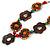 Brown/ Multicoloured Wood Floral Motif Black Cord Necklace - 60cm L/ Adjustable - view 3