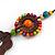 Brown/ Multicoloured Wood Floral Motif Black Cord Necklace - 60cm L/ Adjustable - view 4