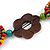 Brown/ Multicoloured Wood Floral Motif Black Cord Necklace - 60cm L/ Adjustable - view 5