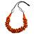 Orange Wood Bead Cluster Black Cotton Cord Necklace - 80cm L/ Adjustable