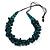 Teal Wood Bead Cluster Black Cotton Cord Necklace - 80cm L/ Adjustable