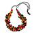 Multicoloured Wood Bead Cluster Black Cotton Cord Necklace - 80cm L/ Adjustable - view 3