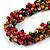 Multicoloured Wood Bead Cluster Black Cotton Cord Necklace - 80cm L/ Adjustable - view 4