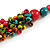 Multicoloured Wood Bead Cluster Black Cotton Cord Necklace - 80cm L/ Adjustable - view 5