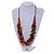 Multicoloured Wood Bead Cluster Black Cotton Cord Necklace - 80cm L/ Adjustable - view 2