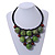 Statement Dusty Green Resin Ball, Black Rubber Cord Bib Necklace - 52cm L - view 2