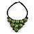 Statement Dusty Green Resin Ball, Black Rubber Cord Bib Necklace - 52cm L