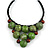 Statement Dusty Green Resin Ball, Black Rubber Cord Bib Necklace - 52cm L - view 3