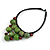 Statement Dusty Green Resin Ball, Black Rubber Cord Bib Necklace - 52cm L - view 4