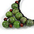Statement Dusty Green Resin Ball, Black Rubber Cord Bib Necklace - 52cm L - view 5